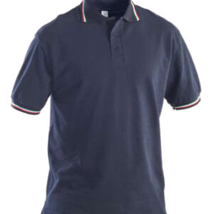 blue polo shirt with tipping collar