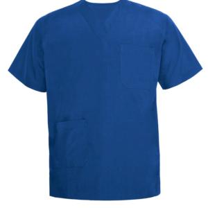 bright blue scrub top