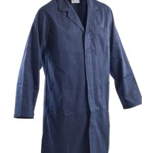 blue long coat work wear