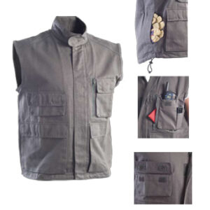 biker waistcoat mud color